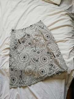 Black and white cotton skirt #MFEB20
