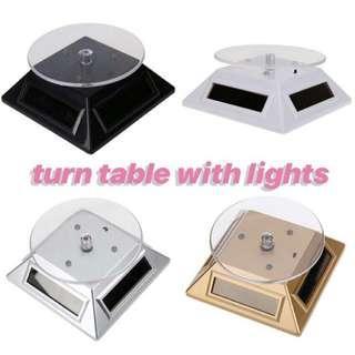 INSTOCKS Solar Display Rotating 360 Turn Table with Lights