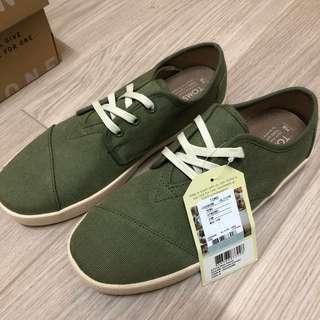 TOMS 綁帶休閒鞋US8 (NEW )綠色經典