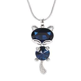 🚚 Lovely Crystal Cat with Shining Tail Necklace (Blue)