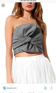 Bow front zip tube top