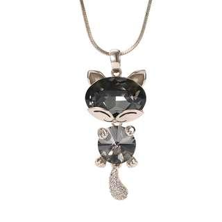 🚚 Lovely Crystal Cat with Shining Tail Necklace (Black)