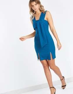 Bodycon blue tie front dress BNWT