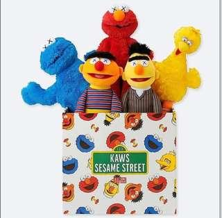 Kaws x sesame street limited edition plush