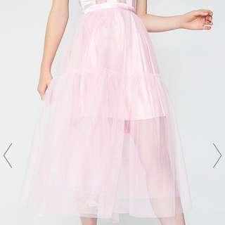 BNWT DollsKill Sugar Thrillz Twirl Princess Tulle Midi Skirt Blush Pink