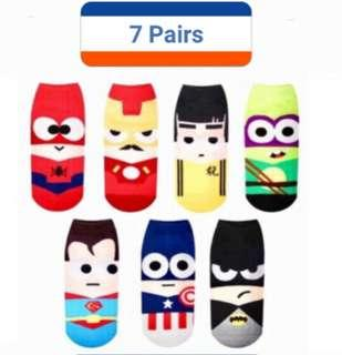 MOVING OUT SALE!!! 7PAIRS SUPERHERO Unisex Korean Iconic ankle socks
