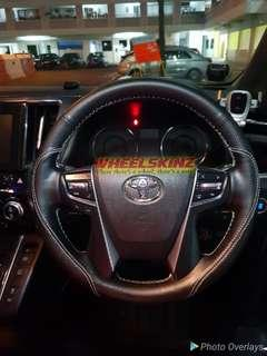 Toyota customised Leather Steering Wheel wrap by wheelskinz