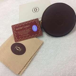 Authentic Unused Cartier Circular Burgundy Coin Purse