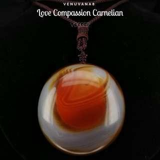🚚 Love Compassion Carnelian Agate Pendant ( Diameter 51mm Thickness 21mm) String Necklace - Carnelian heals Root Chakra -it's about meeting our basic needs for survival & also our Past life unresolved emotional issues.
