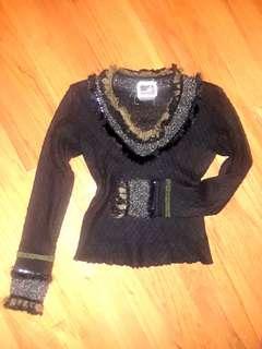 Black bohemian beaded fur winter crochet knit sweater long sleeve small vintage