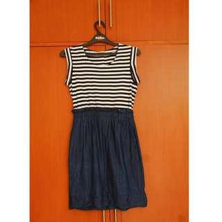 #carousellxzoukout Jeans stripped dress