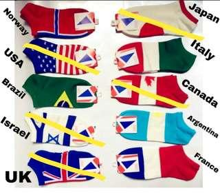 Unisex 5-Country Flag Low Cut Socks