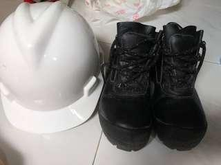 Safety shoes with safety helmet