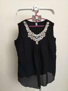 Gold Embroidery Black Top