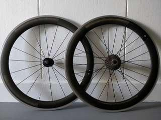 50mm Carbon clincher wheelset with Campagnolo freehub