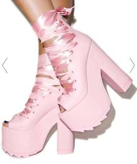 Dolls kill yru pink ballet bae platforms
