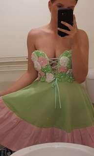 Strapless courset back dress green and pink