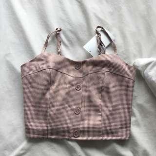 Soft Pink gingham crop top