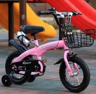 Children bicycle with training wheels