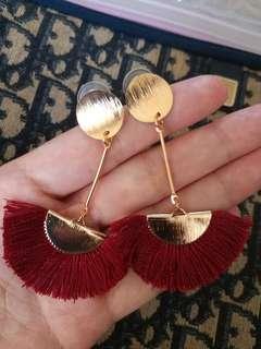 全新酒紅色玫瑰金色長耳環 rose gold tone long earrings