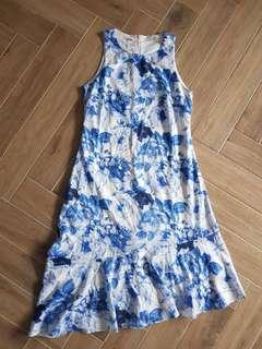 BNWT Love and Bravery Blue Floral Drop Waist Dress