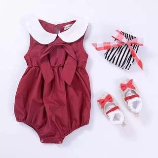 🚚 🌟INSTOCK🌟 White Collar Red Ruffled Overall Onesie Kids Newborn Baby Romper Children Clothing for girls
