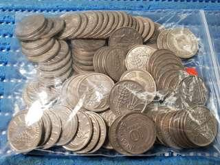100X Singapore 10 Cents Sea Horse Coin ( Random Years.  Lot of 100 Pieces )