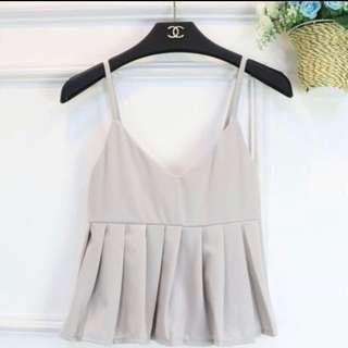 BNIB Light Grey Peplum Babydoll Top