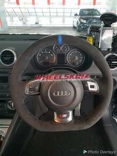 Audi customised Steering Wheel wrapping and upholstery by Wheelskinz