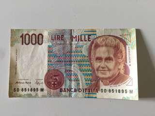 意大利 里拉 1000 Lire (有摺痕)