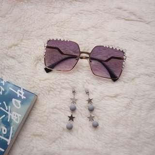 Fendi Be Like Sunglasses & Star Ring Earrings