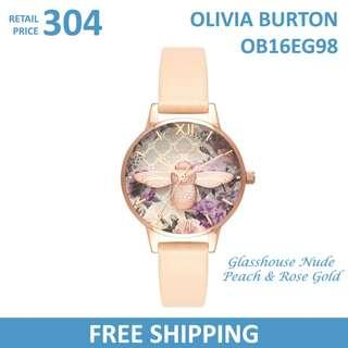 Olivia Burton Ladies Watch Glasshouse Nude Peach & Rose Gold OB16EG98