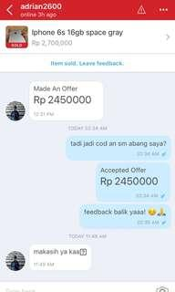 Trusted IPHONE 6s sold