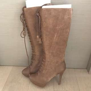 Bershka leather high heels boots 真皮高踭長boots