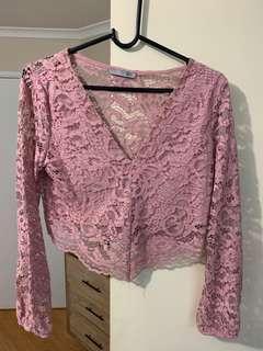 Zara Pink Lace Long-Sleeve Top