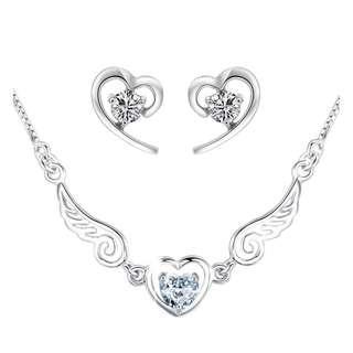 🚚 Angel Wings Heart Pendant Necklace + Earring Set (White)