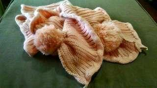 Peach pink knitted scarf