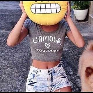 🚚 H&M L'amour Toujours Grey Crop Top