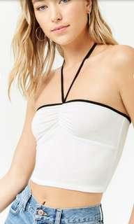 forever 21 halter white crop top S XS