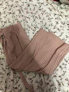 pink & white striped culottes