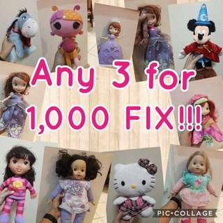 Dolls any 3 for 1,000