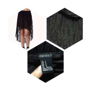 Black High-Low laced skirt