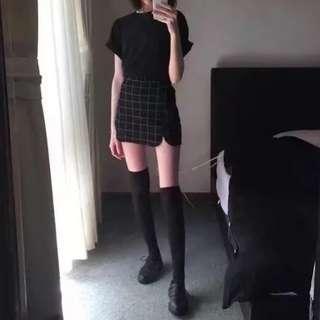🚚 BN Grid Checker Side Slit Pencil Skirt
