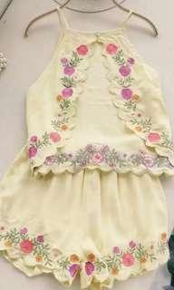 Embroidered vest + shorts set