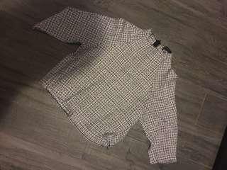Zara grey check women's top 灰色格仔上衣