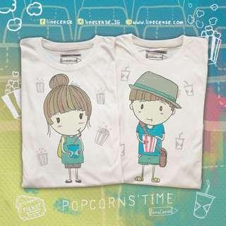 2x Cute Couple Boy Girl Movie T-Shirt Hand Drawn Very Comfy Light Organic Cotton