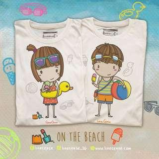 2x Cute Couple Boy Girl Beach T-Shirt Hand Drawn Very Comfy Light Organic Cotton