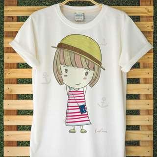 Cute Sailor Girl T-Shirt Hand Drawn Very Comfy Light Organic Cotton Adorable