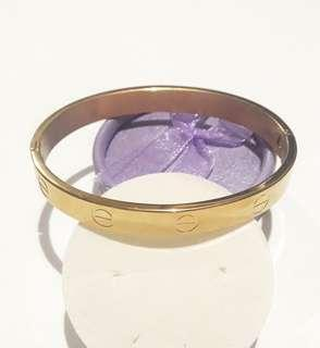 Stainless Steel Cartier Inspired Bangle Gold
