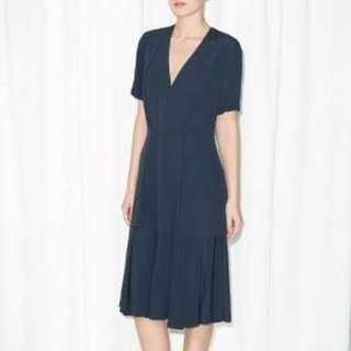 AUTHENTIC & OTHER STORIES NAVY WRAP DRESS